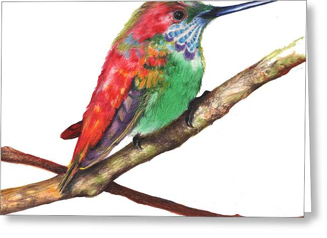 Greeting Card featuring the drawing Color Bird 9 by Anthony Burks Sr