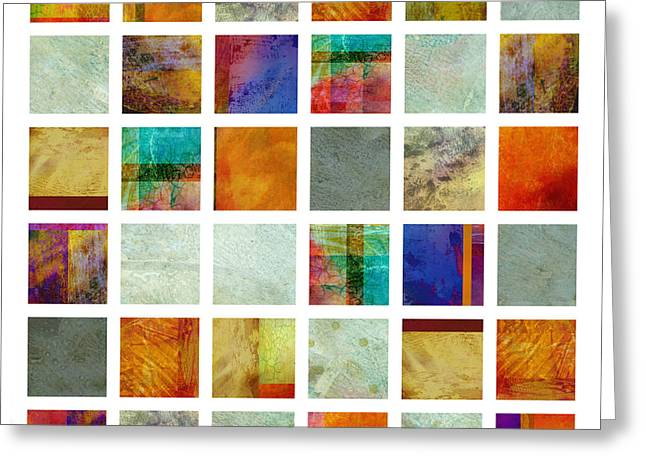 Color Block Collage Abstract Art Greeting Card by Ann Powell
