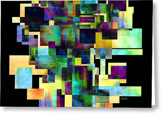 Color Block On Black One Abstract - Art Greeting Card by Ann Powell
