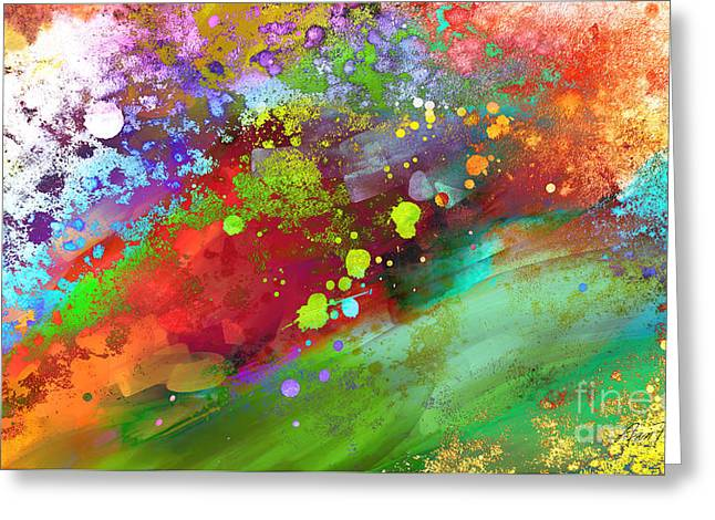 Color Explosion Abstract Art Greeting Card by Ann Powell