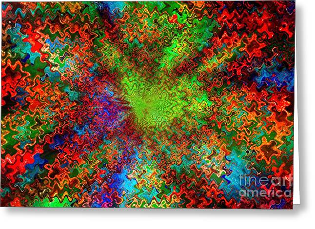 Color Explosion Abtract Greeting Card by Carol Groenen