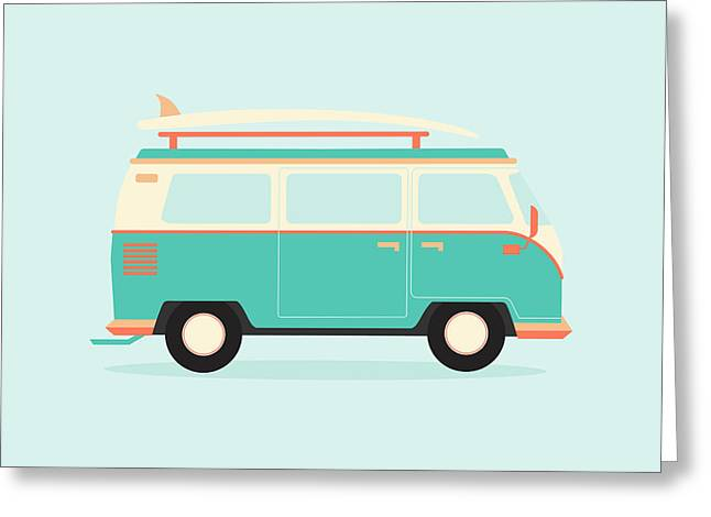 Color Full Surfer Van. Transportation Greeting Card