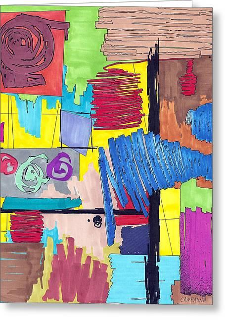 Color Fun Vi Greeting Card by Teddy Campagna