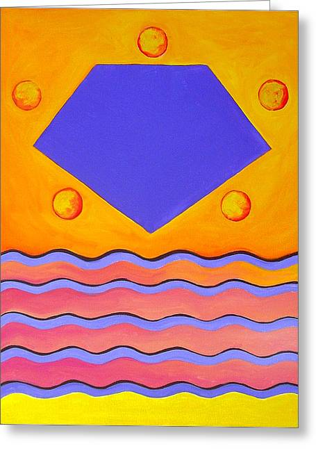 Color Geometry - Pentagon Greeting Card by Carolyn Goodridge