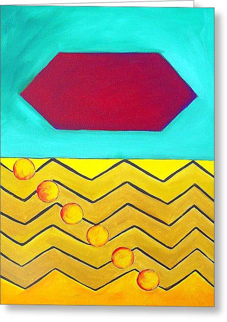 Color Geometry - Hexagon Greeting Card by Carolyn Goodridge