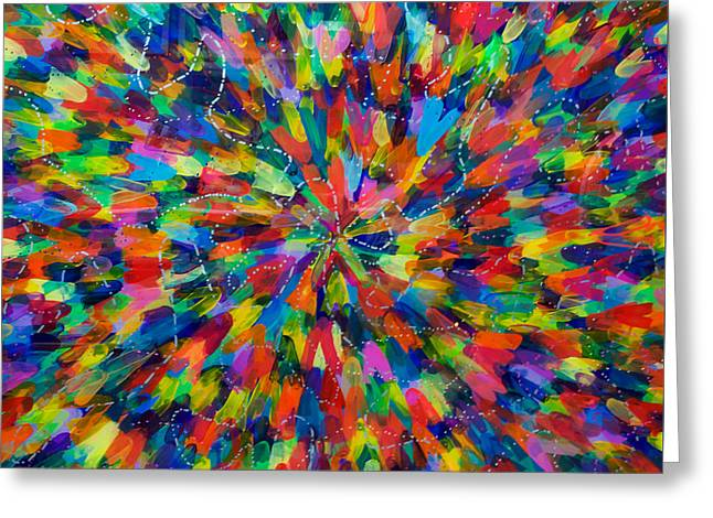 Color Implosion Greeting Card by Patrick OLeary