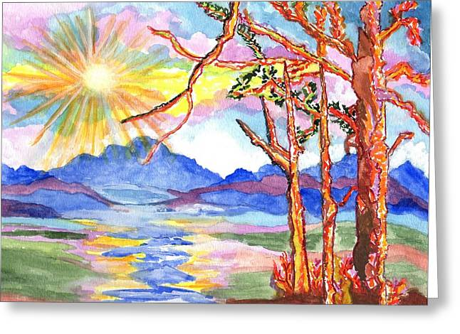 Color In The Country Greeting Card by Connie Valasco