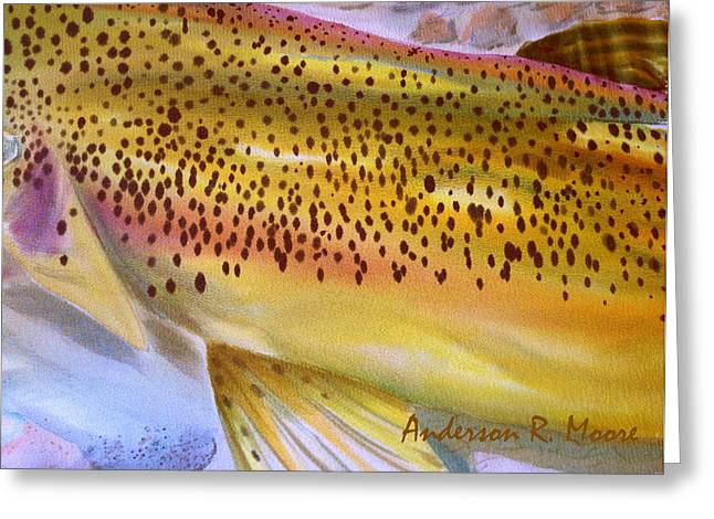Color Me Trout- Brown Greeting Card by Anderson R Moore