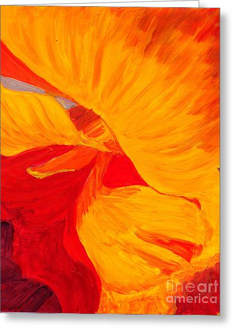 Greeting Card featuring the painting Color Orange by Mukta Gupta