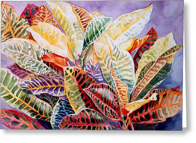 Greeting Card featuring the painting Color Patterns - Crotons by Roxanne Tobaison