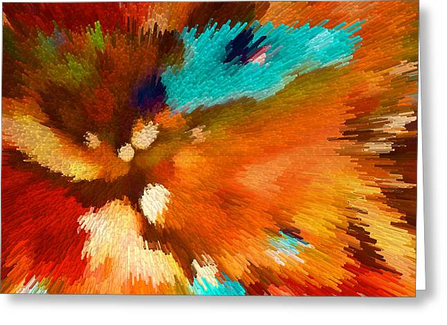Color Shock 1 - Vibrant Digital Painting Greeting Card by Sharon Cummings