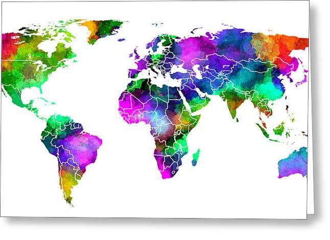 Color Splash World Greeting Card by Daniel Hagerman