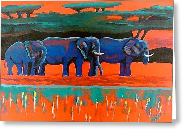 Greeting Card featuring the painting Color Study Elephants by Brenda Pressnall
