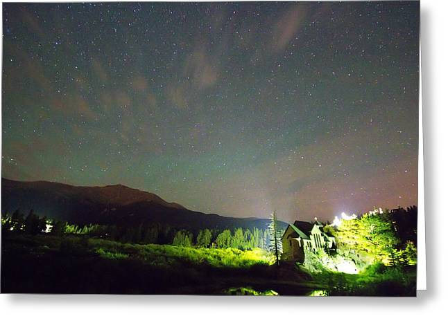 Colorado Chapel On The Rock Dreamy Night Sky Greeting Card