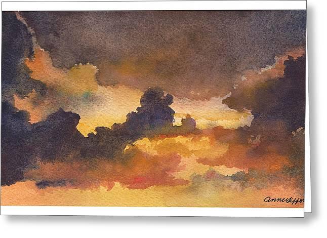 Colorado Clouds In Orange Sky Greeting Card