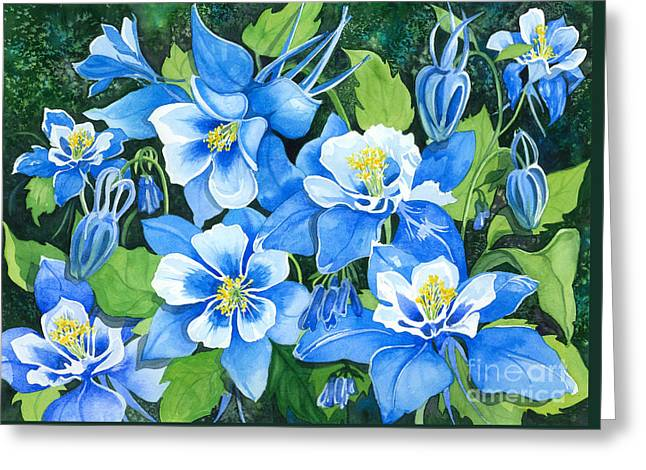 Colorado Columbines Greeting Card by Barbara Jewell