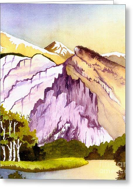 Greeting Card featuring the painting Colorado Mountains In Their Purple Majesty by Nan Wright