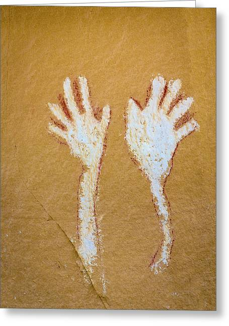 Colorado Pictograph Of Hands In Canyon Greeting Card by Jaynes Gallery