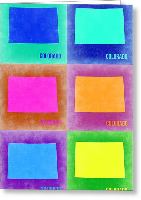 Colorado Pop Art Map 3 Greeting Card by Naxart Studio