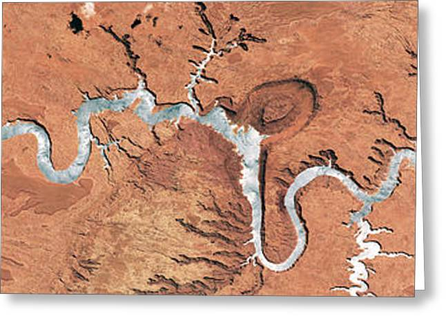 Colorado River, Lake Powell, Satellite Greeting Card