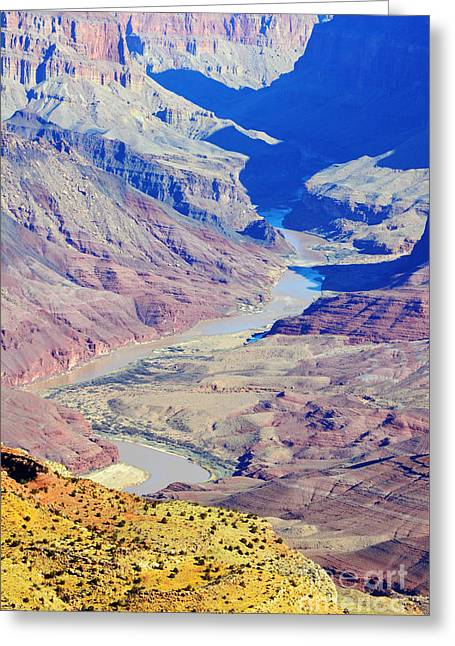 Colorado River Winding Through The Grand Canyon Greeting Card by Shawn O'Brien