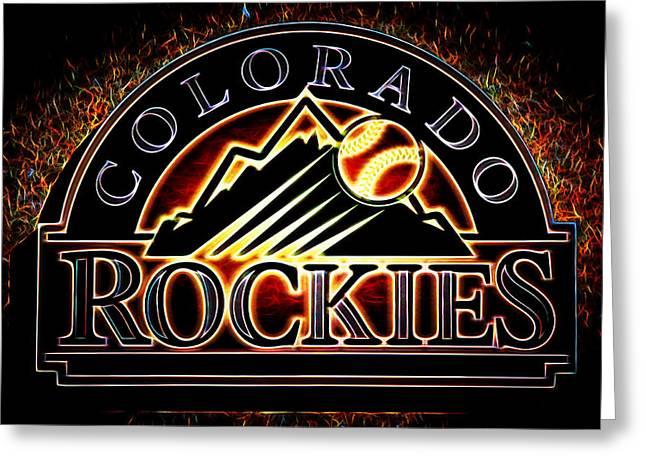 Colorado Rockies Logo Greeting Card by Stephen Stookey