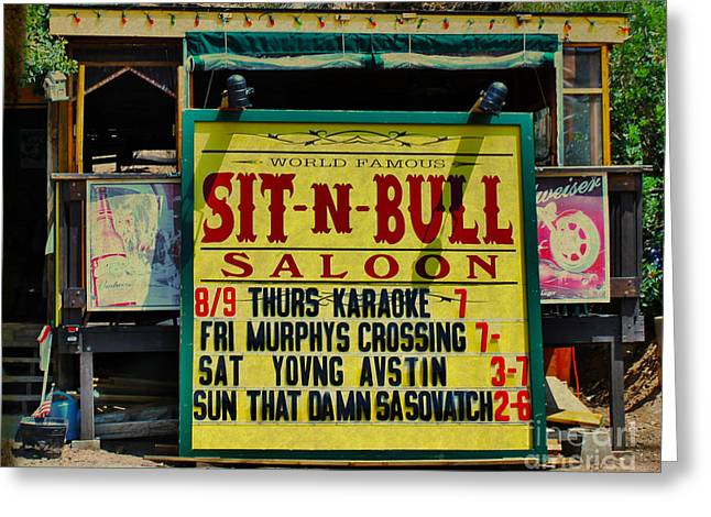 Colorado Sit-n-bull Saloon  Greeting Card by Janice Rae Pariza