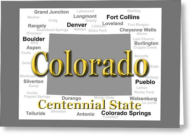 Colorado State Pride Map Silhouette  Greeting Card