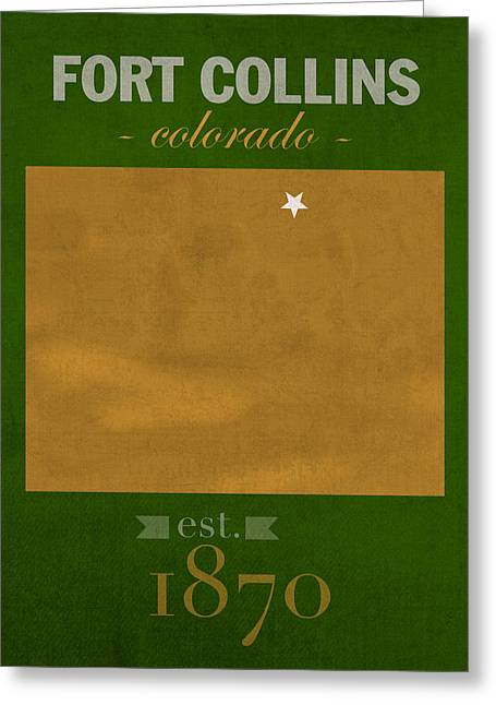 Colorado State University Rams Fort Collins College Town State Map Poster Series No 032 Greeting Card by Design Turnpike