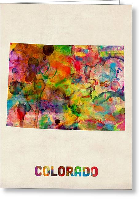 Colorado Watercolor Map Greeting Card by Michael Tompsett