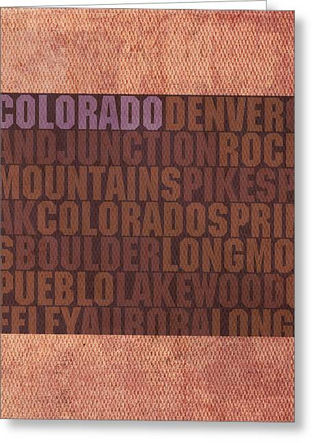 Colorado Word Art State Map On Canvas Greeting Card