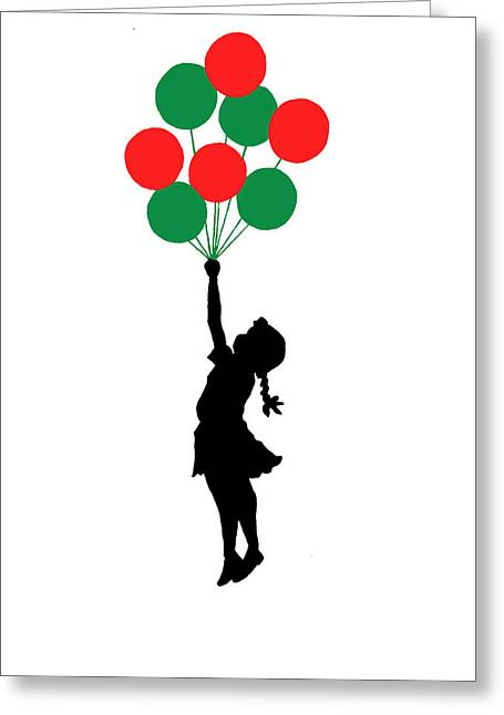 Colored Balloons Girl Greeting Card