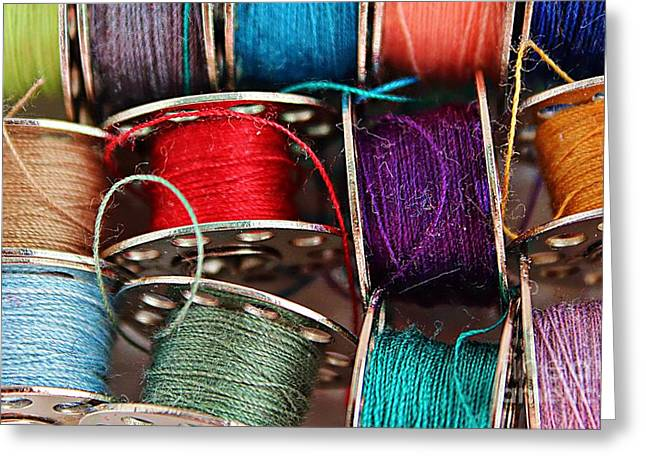 Colored Bobbins - Seamstress - Quilter Greeting Card by Barbara Griffin