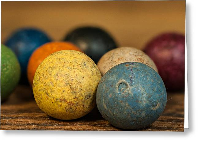 Colored Clay Marbles Greeting Card