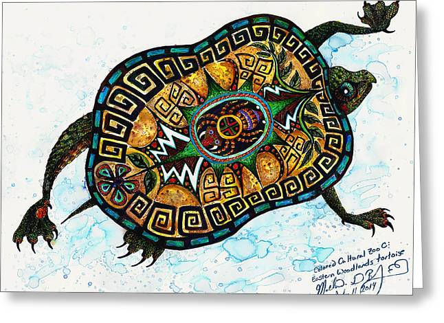 Colored Cultural Zoo C Eastern Woodlands Tortoise Greeting Card by Melinda Dare Benfield