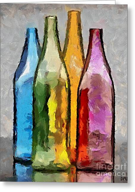 Colored Glass Bottles Greeting Card