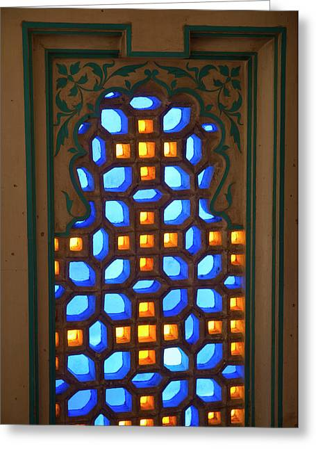 Colored Glass Window, City Palace Greeting Card by Inger Hogstrom