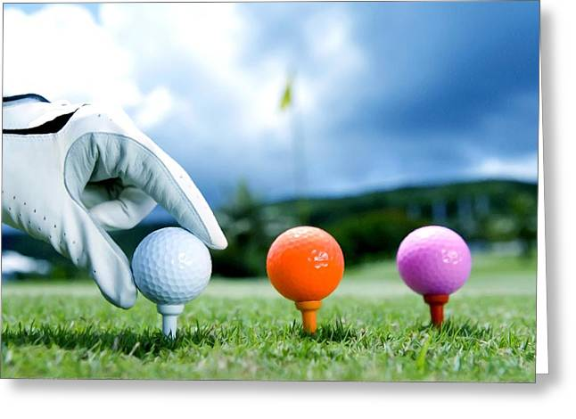 Colored Golf Balls Are In The Range Greeting Card by Lanjee Chee