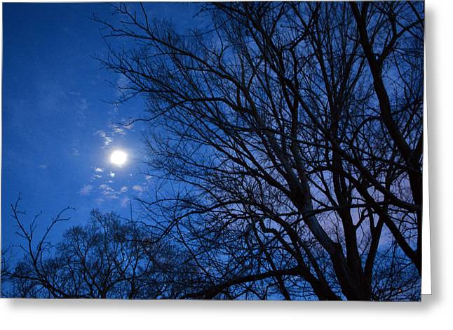 Colored Hues Of A Full Moon Greeting Card by Bill Helman