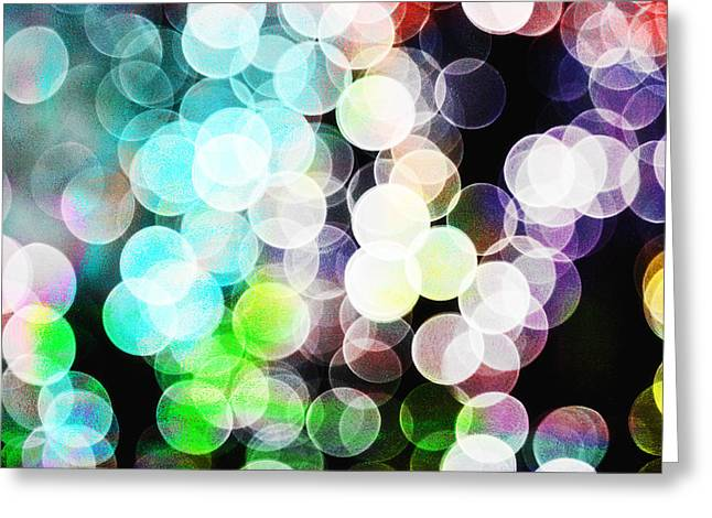 Colored Light Circles Greeting Card by Susan Stone