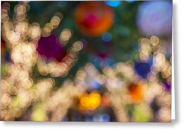 Colored Lights At The Wynn Hotel Greeting Card by Susan Stone