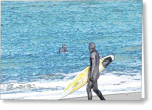 Colored Pencil Sketch Surfer Greeting Card by Beverly Guilliams