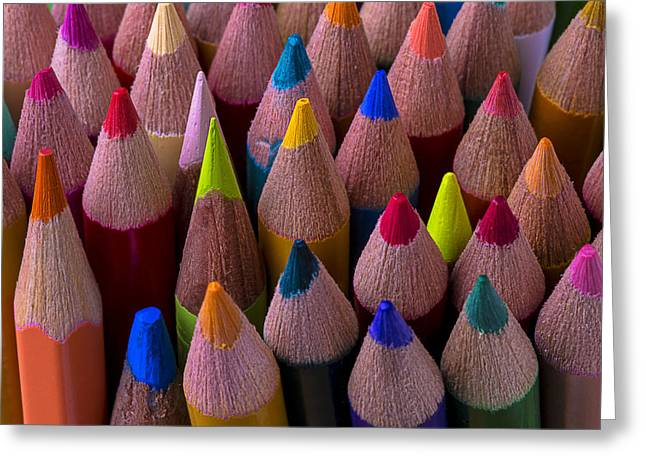 Colored Pencils Close Up Greeting Card