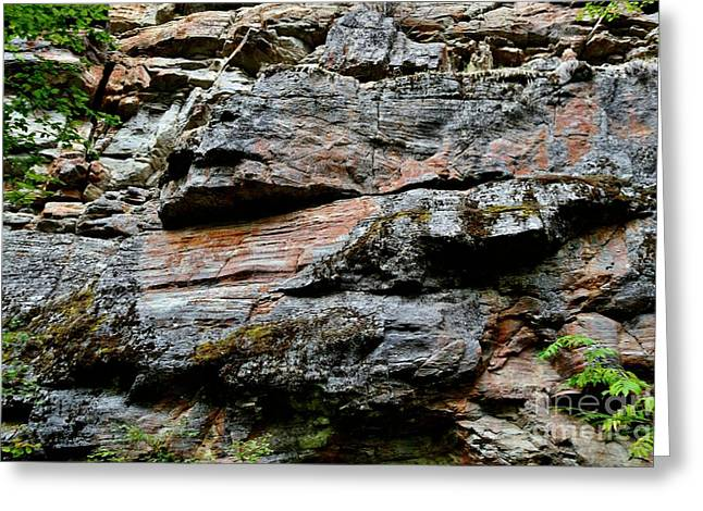 Colored Rock Face Greeting Card by Phil Dionne