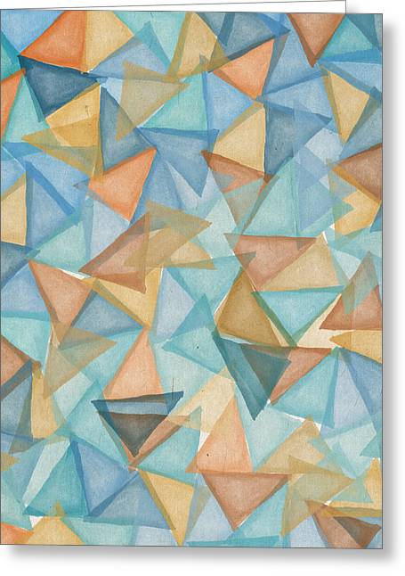 Colored Triangles Greeting Card by Aged Pixel