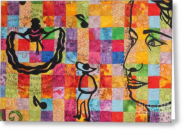 Colores De Mexico Quilt Detail Greeting Card by Sonia Flores Ruiz