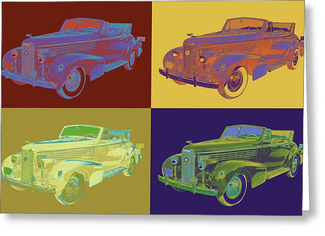 Colorful 1938 Cadillac Lasalle Pop Art Greeting Card by Keith Webber Jr