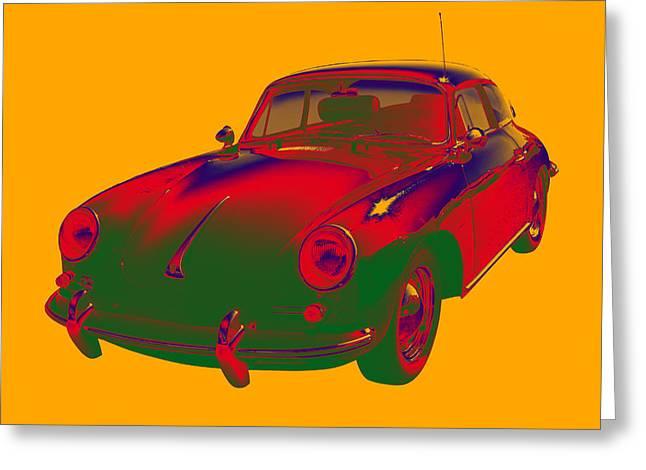 Colorful 1962  Porsche 356 E Art Greeting Card