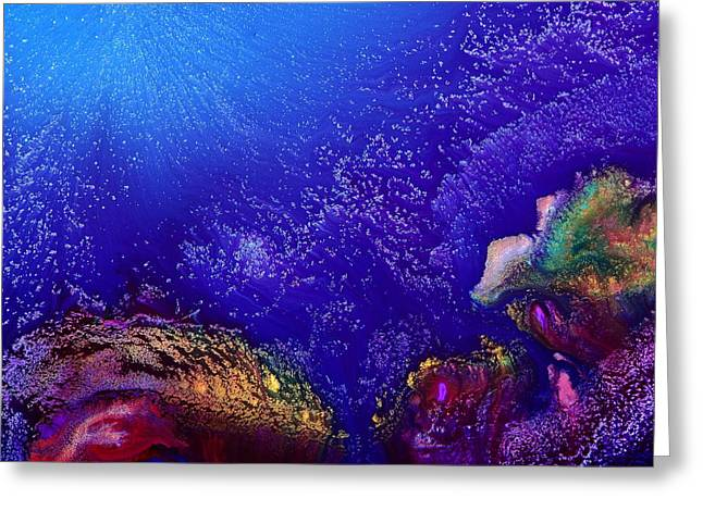 Colorful Abstract Art-vivid Fluid Painting Life Below By Kredart Greeting Card