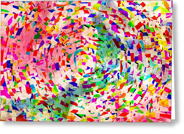 Colorful Abstract Circles Greeting Card by Susan Leggett